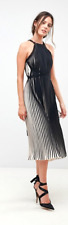 Brand New Little Mistress Tall High Neck All Over Pleated Midi Dress Black Nude