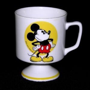 Walt Disney Productions Vintage Mickey Mouse Pedestal Coffee Mug Japan Vintage