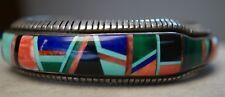 Frank Yellowhorse Native American Navajo Inlay Sterling Silver Estate Bracelet