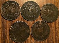 LOT OF 5 CANADA PRE CONFEDERATION LARGE CENT PENNY LOT OF 5 COINS