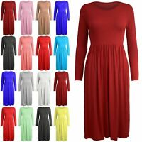Women Long Sleeve Smock Swing Dress Flared Skater Jersey Long Sleeve Midi Plus