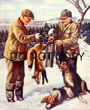 Antique Reproduction 8X10 Photo Print Fox Hunters Skinning A Red Fox