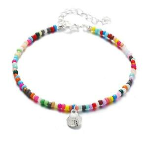 Silver Rainbow Opaque Bead Ankle Bracelet Womens Anklet Adjustable Chain Beach