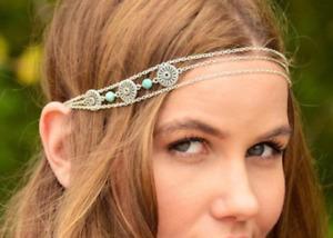 Tibetan Silver Grecian Disc Turquoise Head Chain Headband Headpiece Hair Band UK
