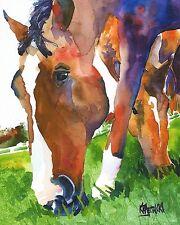 Horse Grazing 8x10 Art Print signed by Artist Ron Krajewski Painting