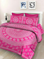 Floral Print Cotton Double Bed Sheet & Duvet Cover With 4 Pillow Covers Pink sk