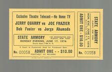 1974 JOE FRAZIER VS JERRY QUARRY  THEATRE TICKET  MINT  HEAVYWEIGHT FRAZIER KO 5