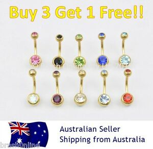 Gold Double Gem Belly Bar 14G Anodized 316 Surgical Steel Button Navel Ring Gem