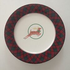 Arita TARTAN PLAID Traditions Accent Salad Plate Reindeer - MINT