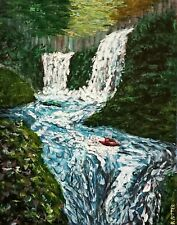 Kayaking White Water Rapids, Waterfall Adventure, Original Landscape Painting