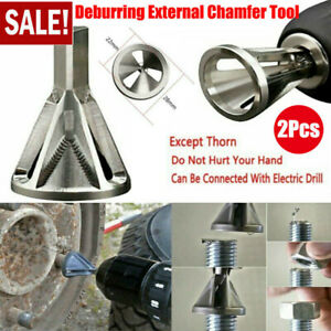 2Pcs Deburring External Chamfer Tool Stainless Steel Remove Burr Tools Drill Bit