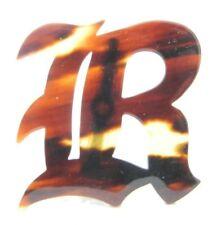 Vintage Faux Tortoise Shell Initial R Monogram Brooch Pin