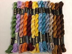 DMC Perle Cotton 3 Floss Thread Lot Assorted Colors 14 Skeins