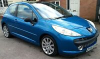 Peugeot 207 Car Hatchback Blue GT110-BHP 1.6-HDI Diesel MOT & New Turbo Tyres