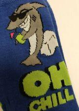 Marc Ecko Men's Novelty Crew Blue Shark in Glasses Oh Chill Socks 10-13 New