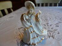 Vintage Lefton Victorian Lady Figurine Hand Painted  White w/ Gold Trim  #KW461