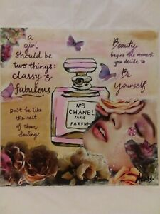 Original Acrylic Painting Mixed Media Collage Art With Chanel Quotes Affirmation