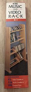 VTG Caldor WTM 4 Tier Music And Video Rack Wood Floor Rack