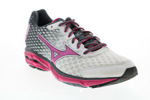 Mizuno Wave Rider FCLR504B14 Womens Grey Mesh Lace Up Athletic Running Shoes 8