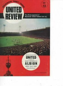 Manchester United v West Bromwich Albion 1967/68 Division 1 complete with Token