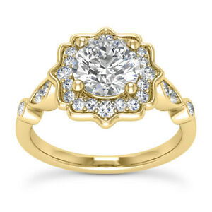 Halo Bridal Set 1.70 Carat D VS2 Round Cut Diamond Engagement Ring Yellow Gold