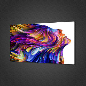 BEAUTIFUL VIVID WOMAN FACE ABSTRACT SWIRLS CANVAS PRINT WALL ART PICTURE PHOTO