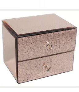 Rose Gold Mirrored Velvet Lined Glittered 2 Tier Jewellery Drawer Box Bedroom