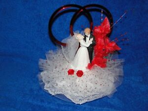 New Bakery Crafts Wedding or 40th Anniversary Couple Caketopper in red