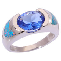 Rainbow Fire Opal Blue Topaz Zircon Silver Women Jewelry Ring Size 7 8 9 OJ9079