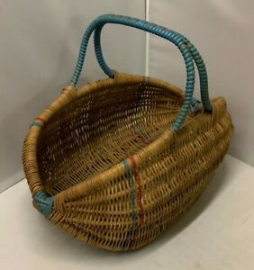 Vintage Wicker Hand Basket with Red & Blue Interwoven Trim in Great Condition