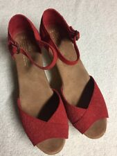Toms Women's Red Ankle Strap Wedge Heels Sandals Size Sz 9.5