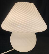 Vintage Venini Vetri Murano Lamp in White Swirl - Mid Century Modern