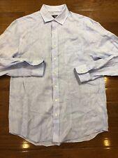 Mens Size Medium Vineyard Vines Button Up Linen Shirt Blue Long Sleeve