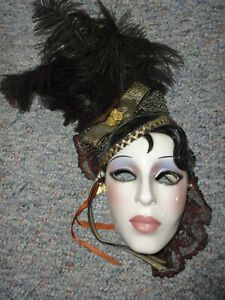VINTAGE CLAY ART CERAMIC  WALL HANGING MASK w/ BLACK FEATHERS