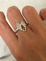 925 Sterling Silver Angel Wings With Heart Ring All Sizes