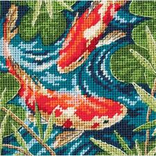 COLORFUL KOI POND NEEDLEPOINT KIT by DIMENSIONS