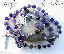 ✫AMETHYST✫ PURPLE GEMSTONE HANDCRAFTED FIVE DECADE  ROSARY (GIFT BOXED)