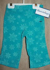 NWT Infant Girls Hartstrings Snowflake Pants 12m Teal Holiday Woven Slacks NEW