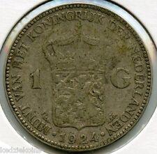 Netherlands 1924 Silver Coin - One Gulden - KR609