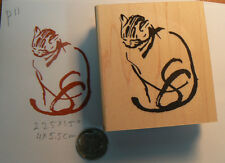"Japanese art cat Rubber Stamp 2.25x2"" beautiful P11"