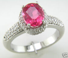 Pink Tourmaline Oval & Round Diamond Band Cocktail Ring 18K White Gold NEW