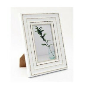 White distressed Antique style Wooden Photo Frame 4x6 Shabby Chic Wood