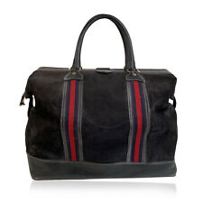 Authentic Gucci Vintage Blue Suede Web Travel Weekender Travel Boston Bag