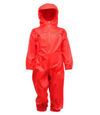 Regatta Kids Children Toddler Waterproof Breathable Hooded Rain Puddle Play Suit Classic Red 24-36