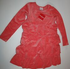 NEW Hanna Andersson Long Sleeve Coral Velour Tiered Ruffle Dress Sz 140 or 10 Yr