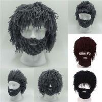 Hand Creative Knitted New* - Beanie Wigs Funny Hat Wool Beard Cap Crochet