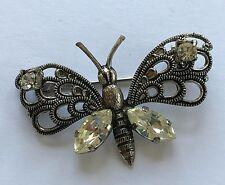 Vintage Brooch - 1940's Intricate filigree butterfly brooch - Clear Rhinestones