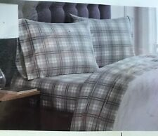 New London Fog Twin Cotton Flannel Sheet Set Pillowcase Gray Plaid Heavyweight