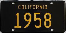 1958 California style novelty license plate, black background!