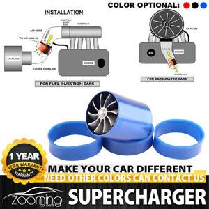 Blue Supercharger Power Air Intake Turbonator Dual Fan Turbine Gas Fuel Saver